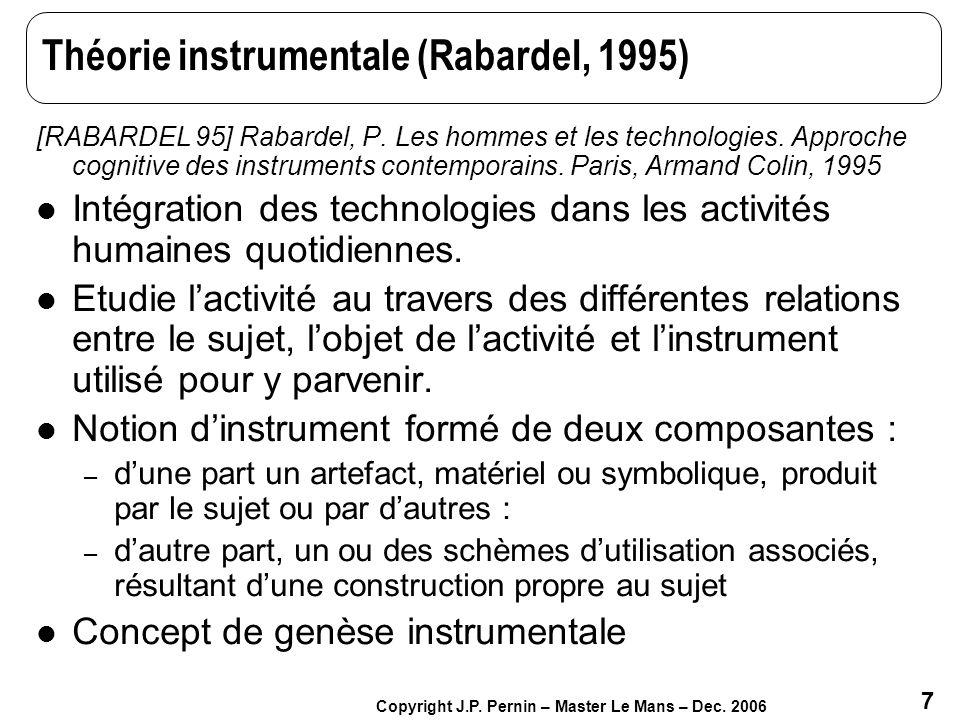 Théorie instrumentale (Rabardel, 1995)
