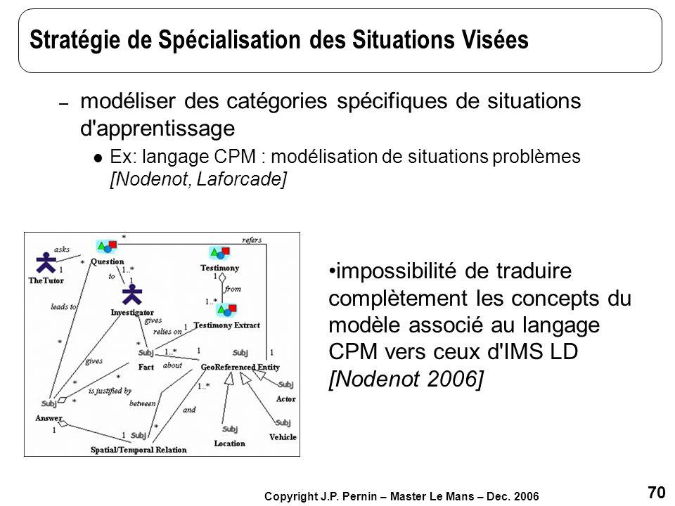 Stratégie de Spécialisation des Situations Visées