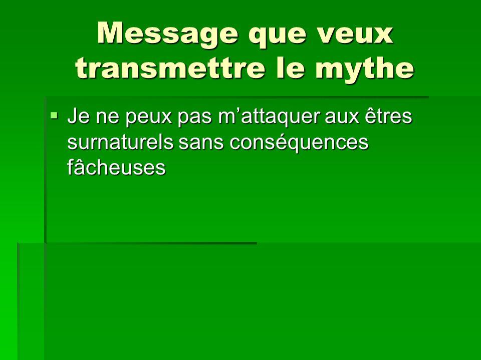 Message que veux transmettre le mythe