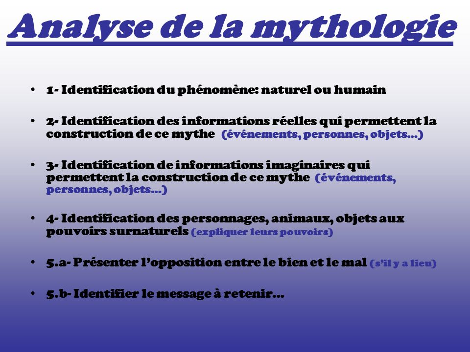 Analyse de la mythologie