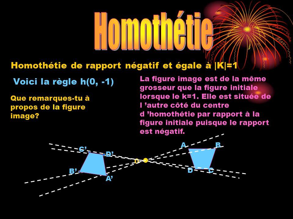 Homothétie Homothétie de rapport négatif et égale à |K|=1