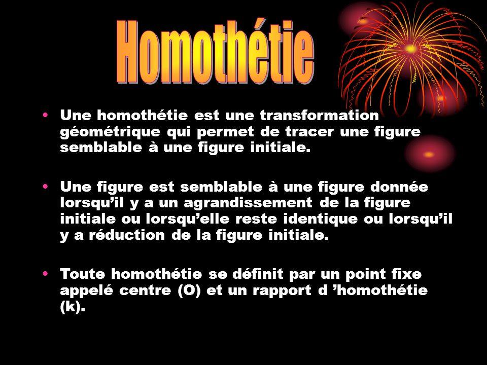 Homothétie Une homothétie est une transformation géométrique qui permet de tracer une figure semblable à une figure initiale.
