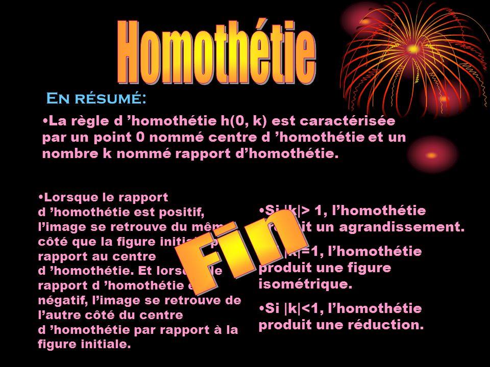 Fin Homothétie En résumé: