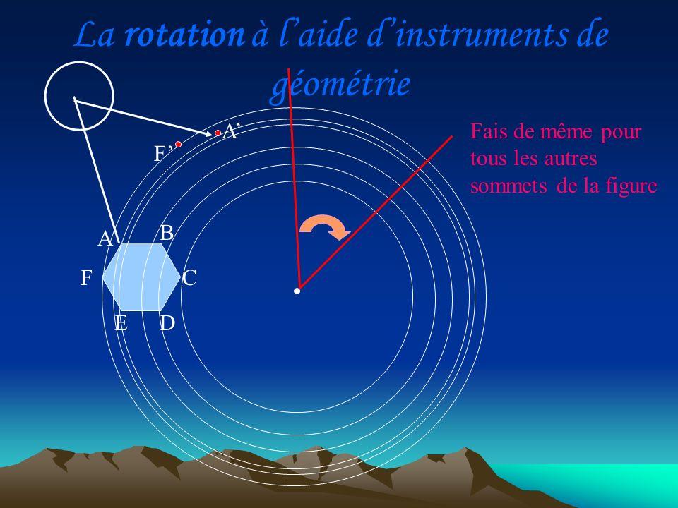 La rotation à l'aide d'instruments de géométrie
