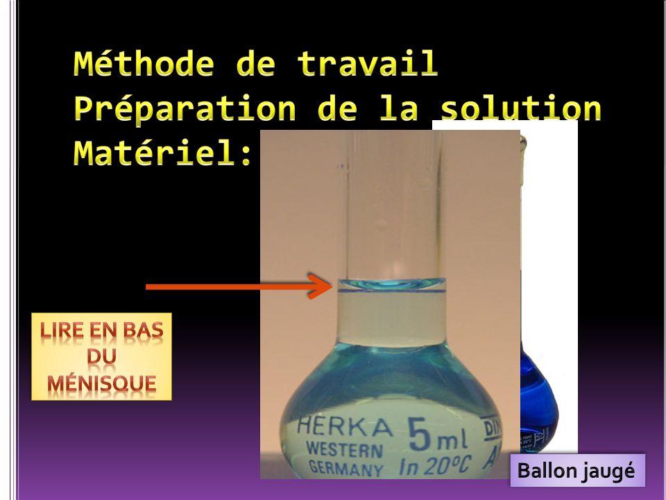 Méthode de travail Préparation de la solution Matériel: