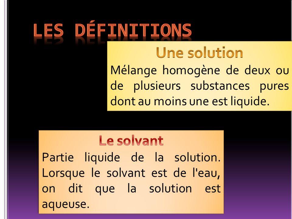 Les définitions Une solution Le solvant