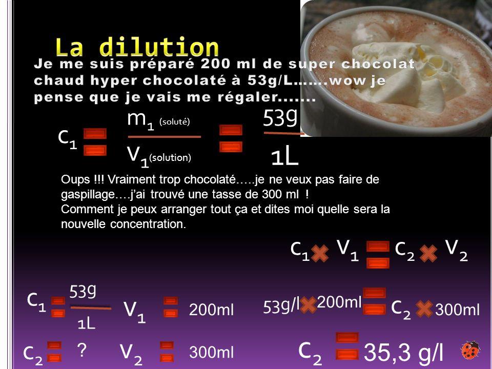 c2 1L v1(solution) v2 v1 v1 v2 La dilution c1 c2 c1 c1 c2 c2 53g