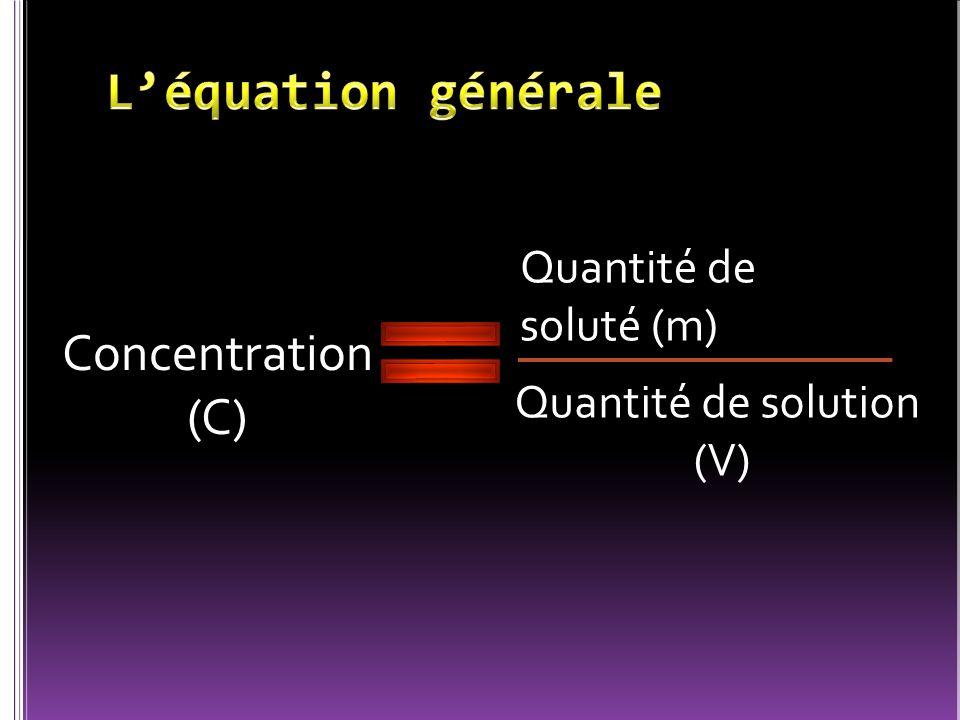 L'équation générale Concentration (C) Quantité de soluté (m)