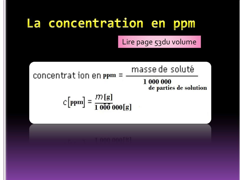 La concentration en ppm