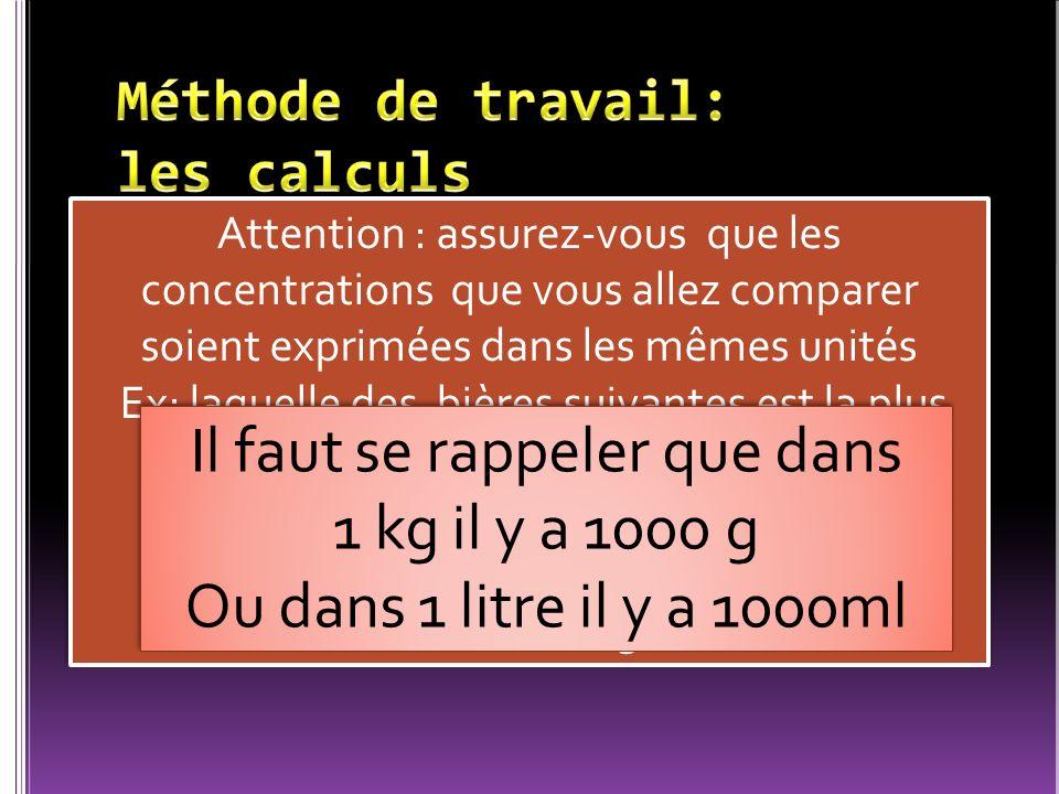 Méthode de travail: les calculs