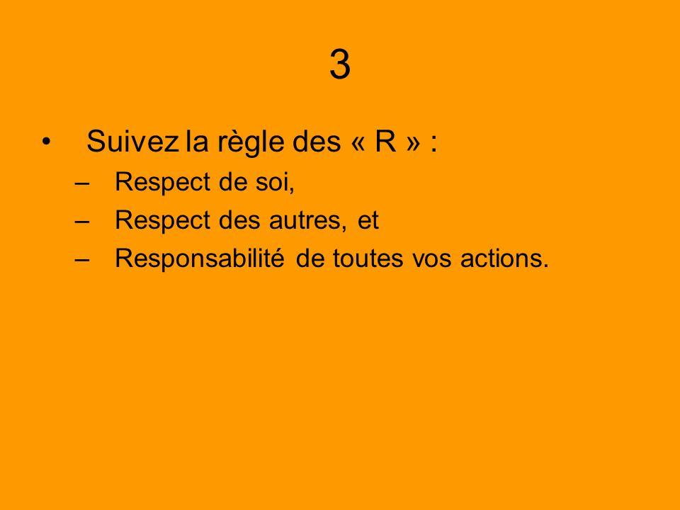 3 Suivez la règle des « R » : Respect de soi, Respect des autres, et