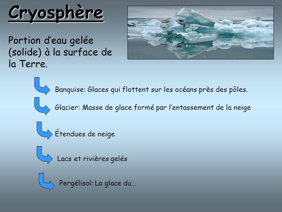 Cryosphère Portion d'eau gelée (solide) à la surface de la Terre.