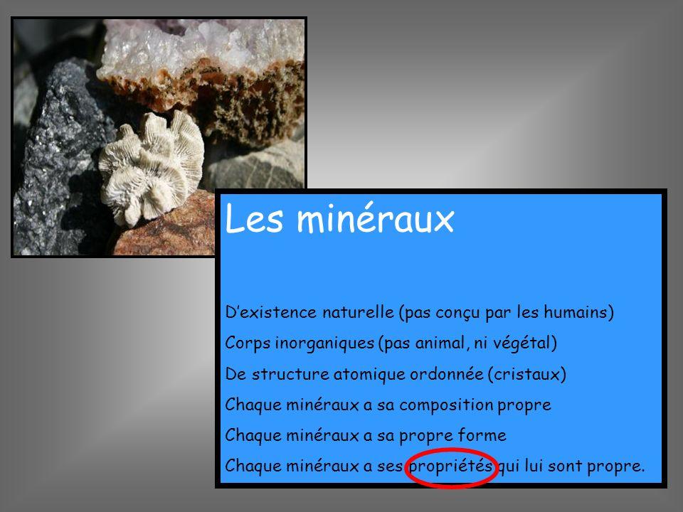 Les minéraux D'existence naturelle (pas conçu par les humains)