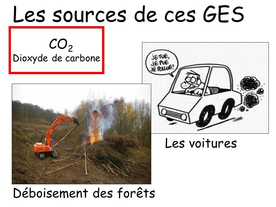 Les sources de ces GES CO2 Les voitures Déboisement des forêts