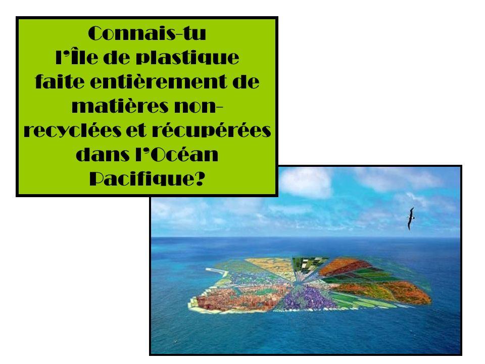 Connais-tu l'Île de plastique faite entièrement de matières non-recyclées et récupérées dans l'Océan Pacifique