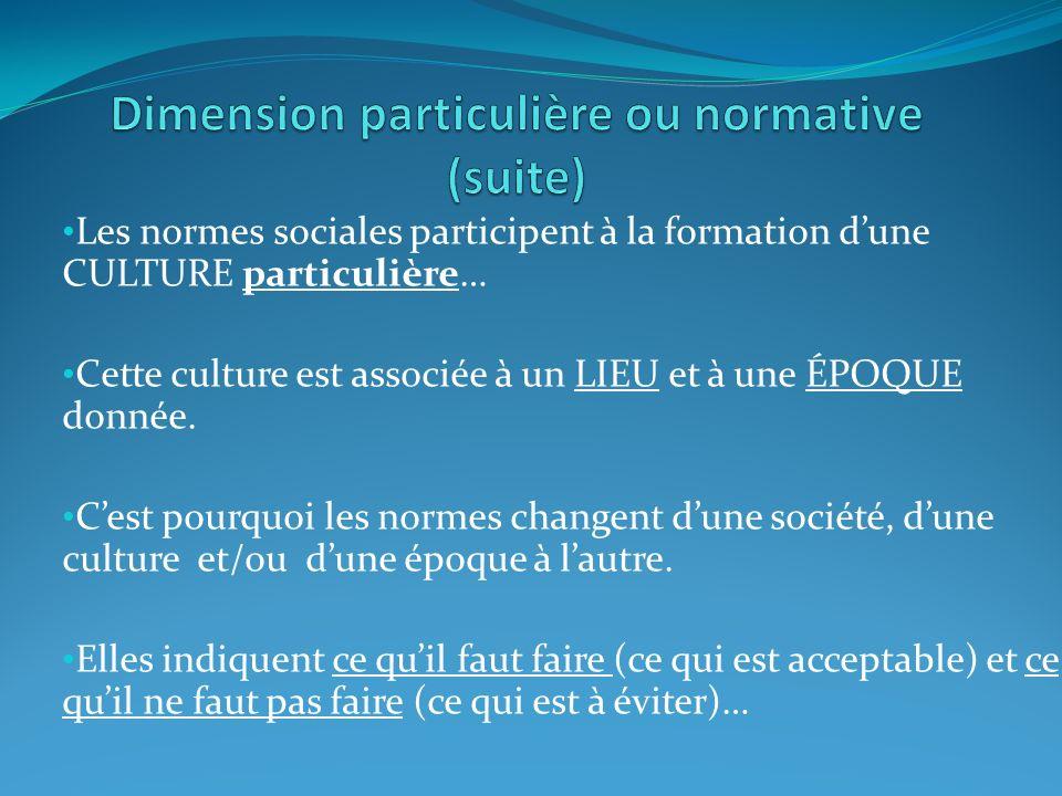 Dimension particulière ou normative (suite)