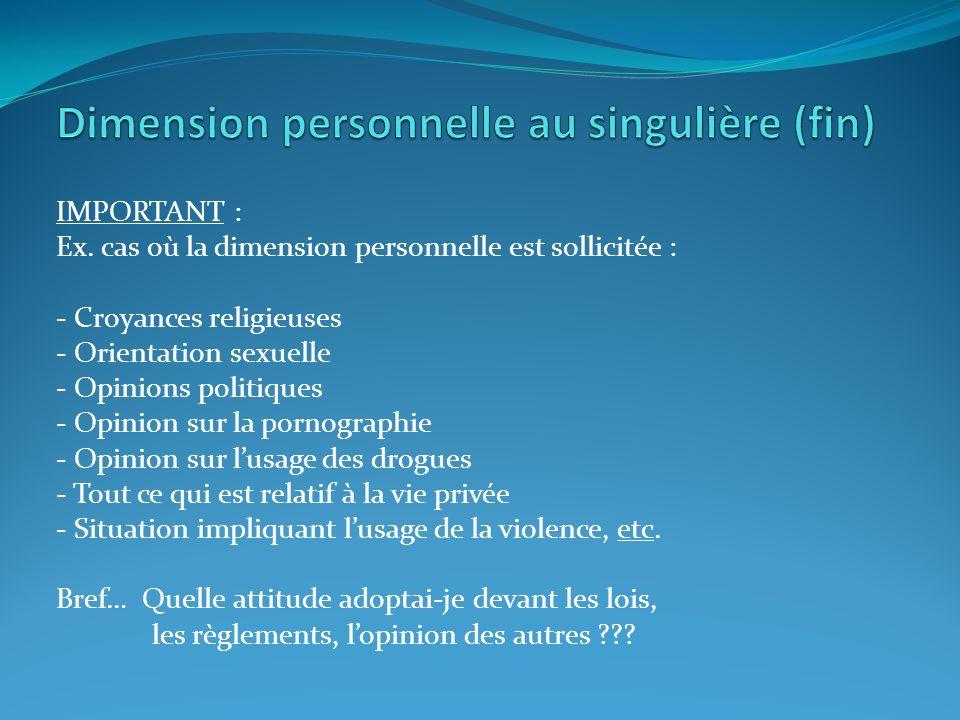 Dimension personnelle au singulière (fin)