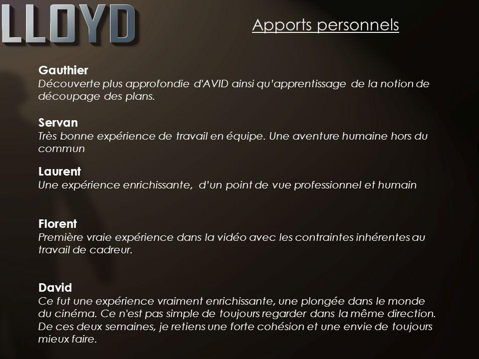 Apports personnels Gauthier Servan Laurent Florent David