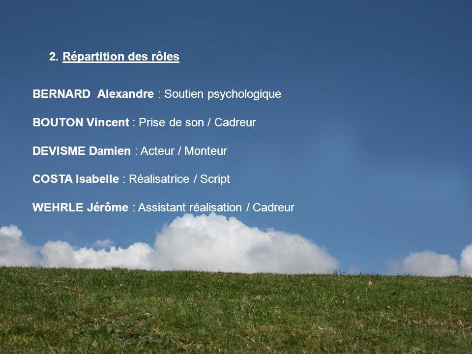 2. Répartition des rôlesBERNARD Alexandre : Soutien psychologique. BOUTON Vincent : Prise de son / Cadreur.