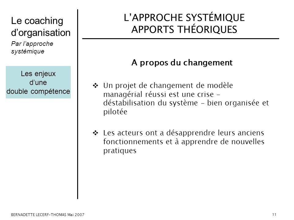 L'APPROCHE SYSTÉMIQUE APPORTS THÉORIQUES