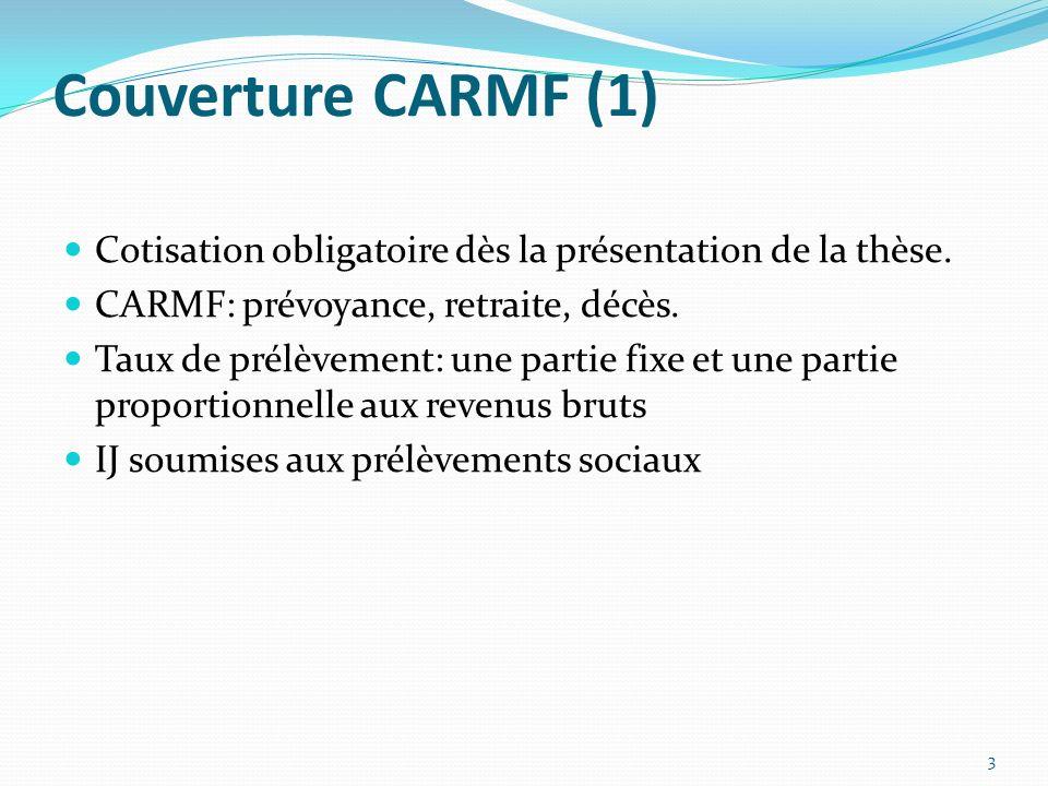 Couverture CARMF (1) Cotisation obligatoire dès la présentation de la thèse. CARMF: prévoyance, retraite, décès.