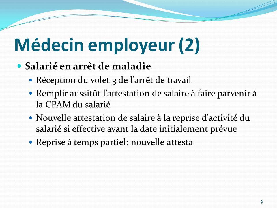 Médecin employeur (2) Salarié en arrêt de maladie