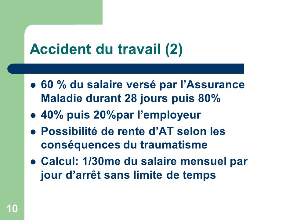Accident du travail (2) 60 % du salaire versé par l'Assurance Maladie durant 28 jours puis 80% 40% puis 20%par l'employeur.