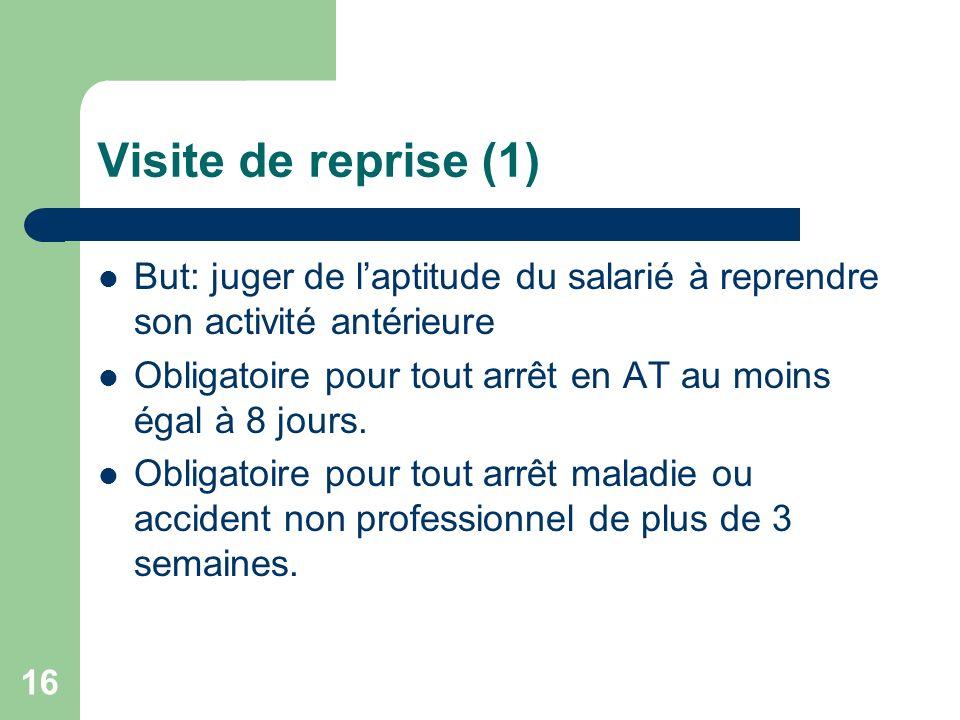 Visite de reprise (1) But: juger de l'aptitude du salarié à reprendre son activité antérieure.