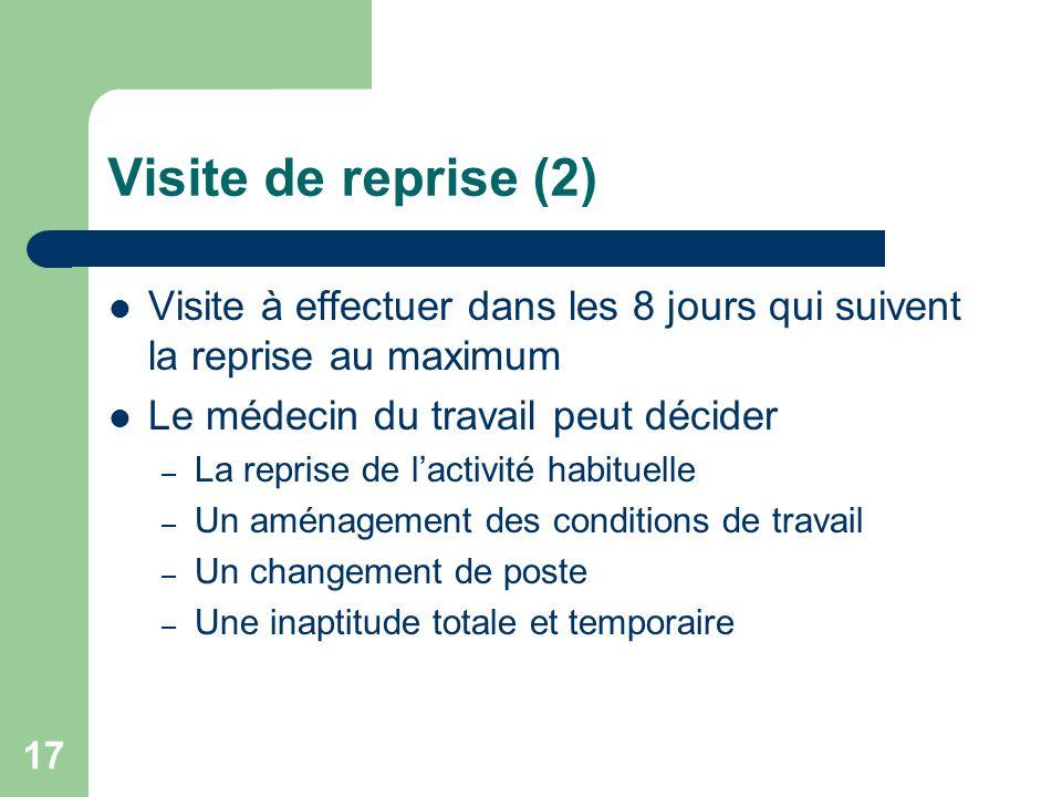Visite de reprise (2) Visite à effectuer dans les 8 jours qui suivent la reprise au maximum. Le médecin du travail peut décider.