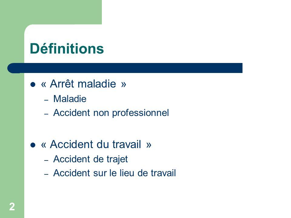 Définitions « Arrêt maladie » « Accident du travail » Maladie