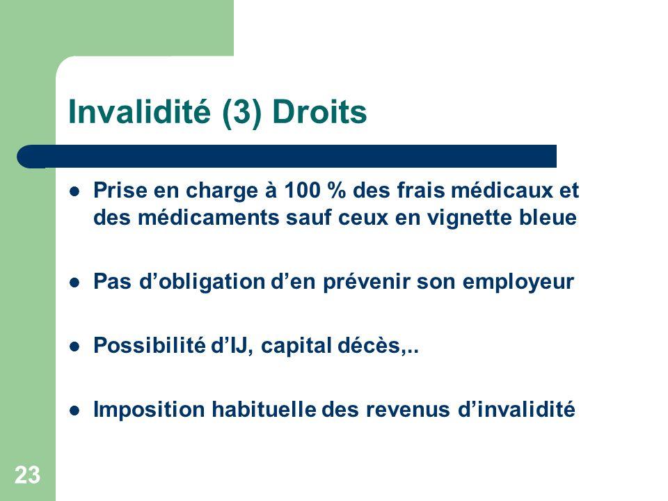 Invalidité (3) Droits Prise en charge à 100 % des frais médicaux et des médicaments sauf ceux en vignette bleue.