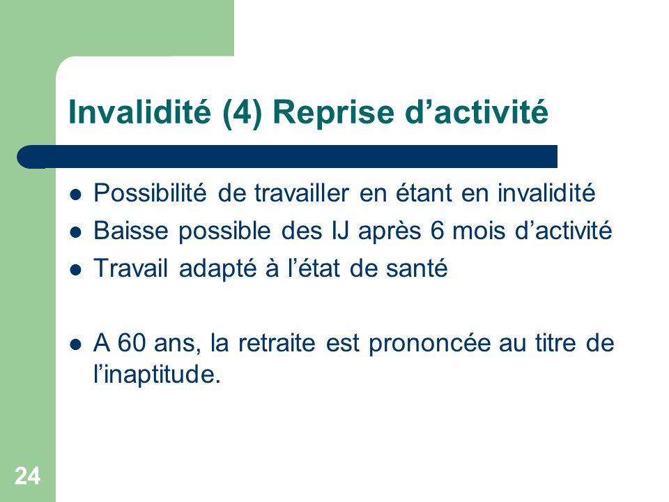 Invalidité (4) Reprise d'activité