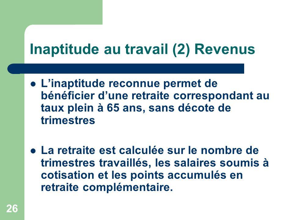 Inaptitude au travail (2) Revenus