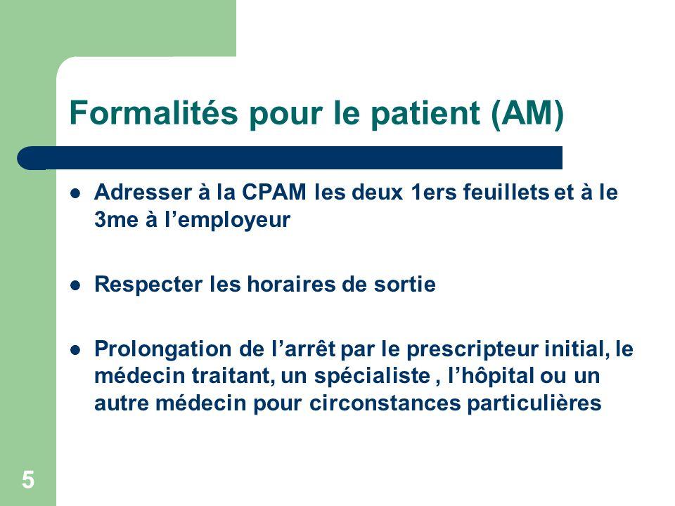 Formalités pour le patient (AM)