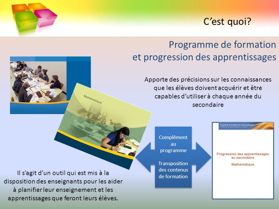 Programme de formation et progression des apprentissages
