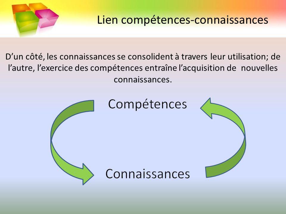 Compétences Connaissances Lien compétences-connaissances