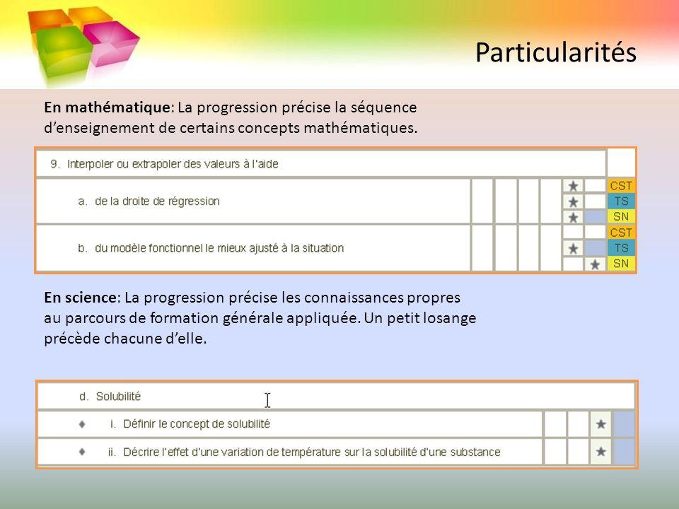 Particularités En mathématique: La progression précise la séquence d'enseignement de certains concepts mathématiques.