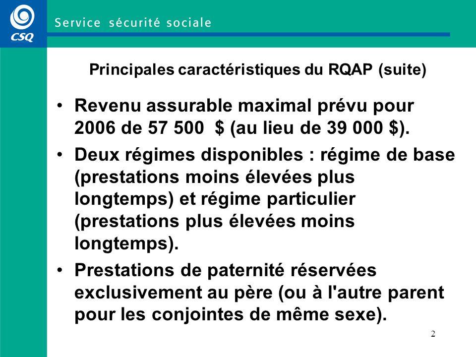 Principales caractéristiques du RQAP (suite)
