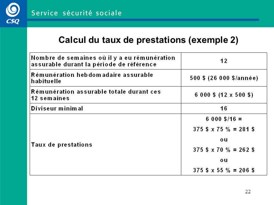 Calcul du taux de prestations (exemple 2)