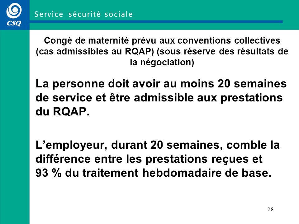Congé de maternité prévu aux conventions collectives (cas admissibles au RQAP) (sous réserve des résultats de la négociation)