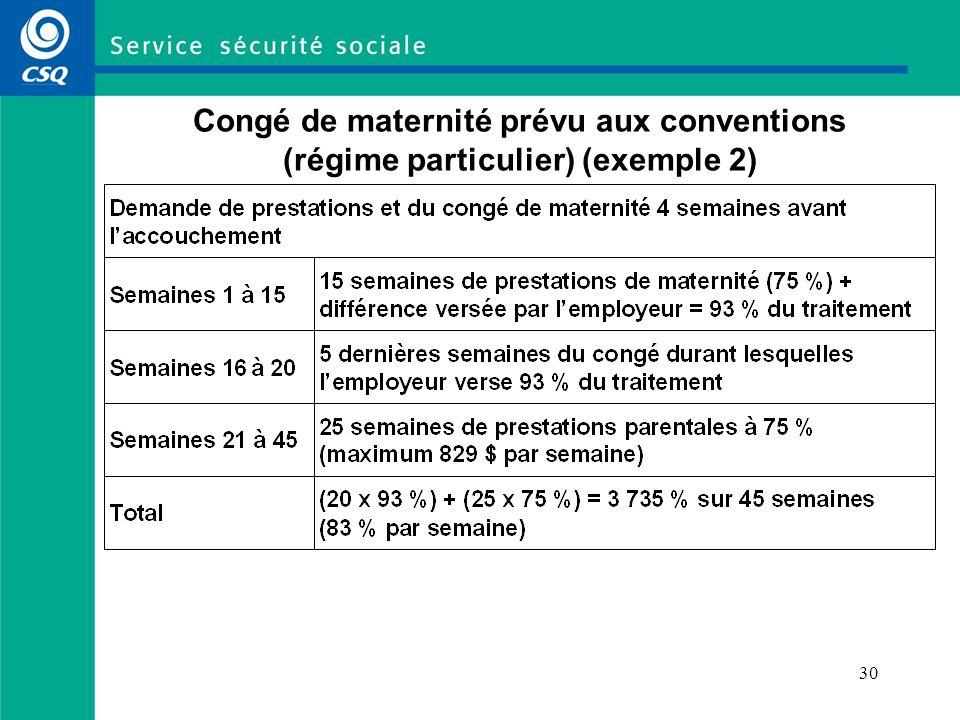 Congé de maternité prévu aux conventions (régime particulier) (exemple 2)