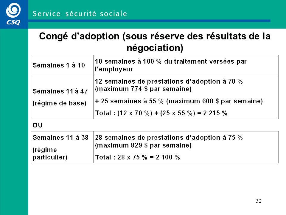 Congé d'adoption (sous réserve des résultats de la négociation)