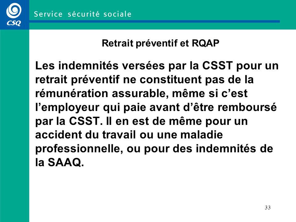 Retrait préventif et RQAP