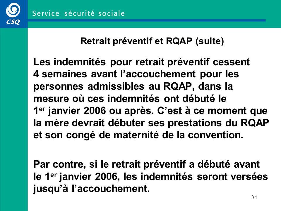 Retrait préventif et RQAP (suite)