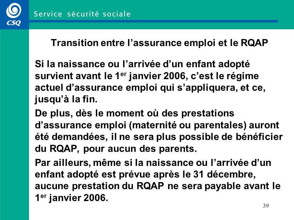 Transition entre l'assurance emploi et le RQAP