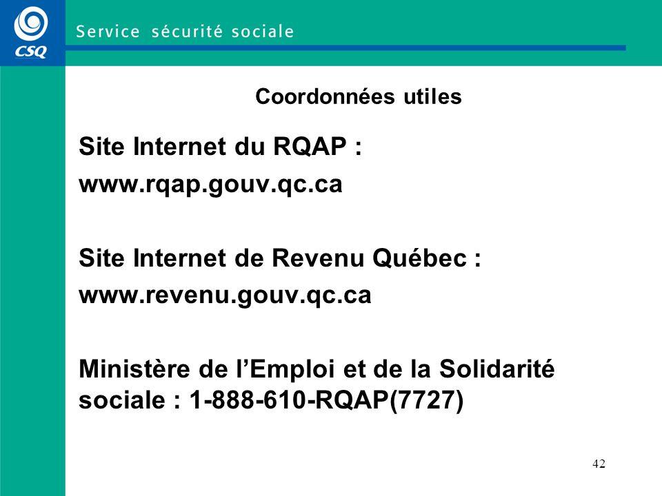 Site Internet de Revenu Québec : www.revenu.gouv.qc.ca