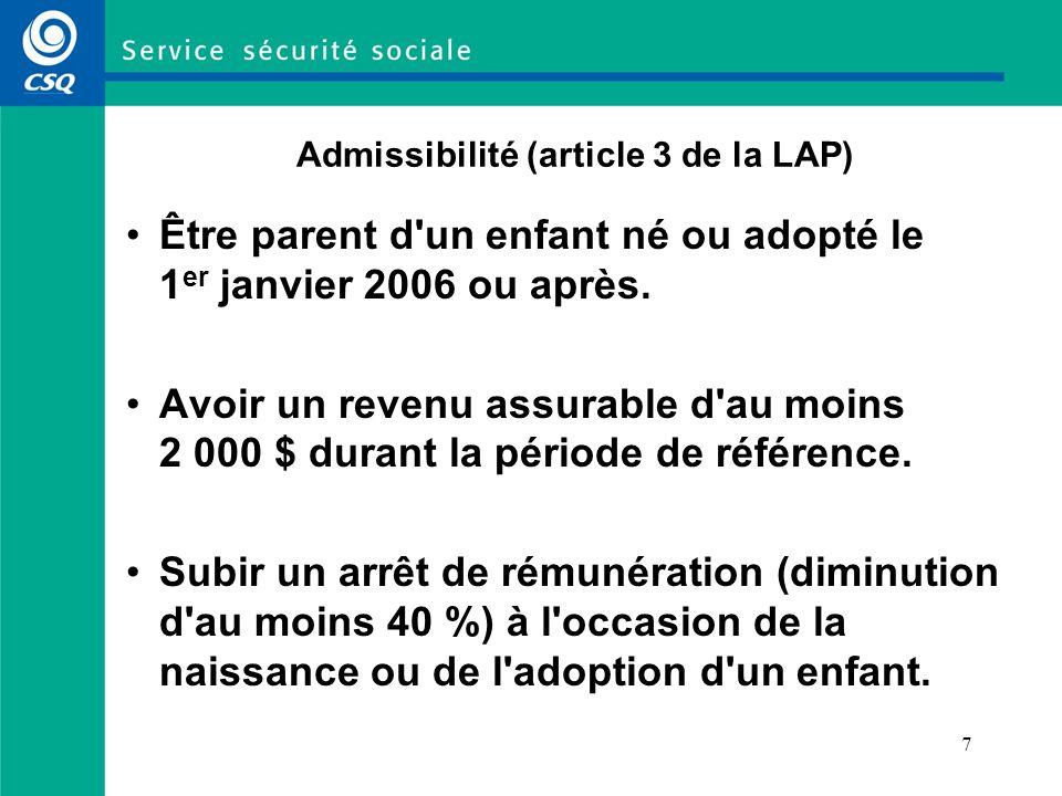 Admissibilité (article 3 de la LAP)
