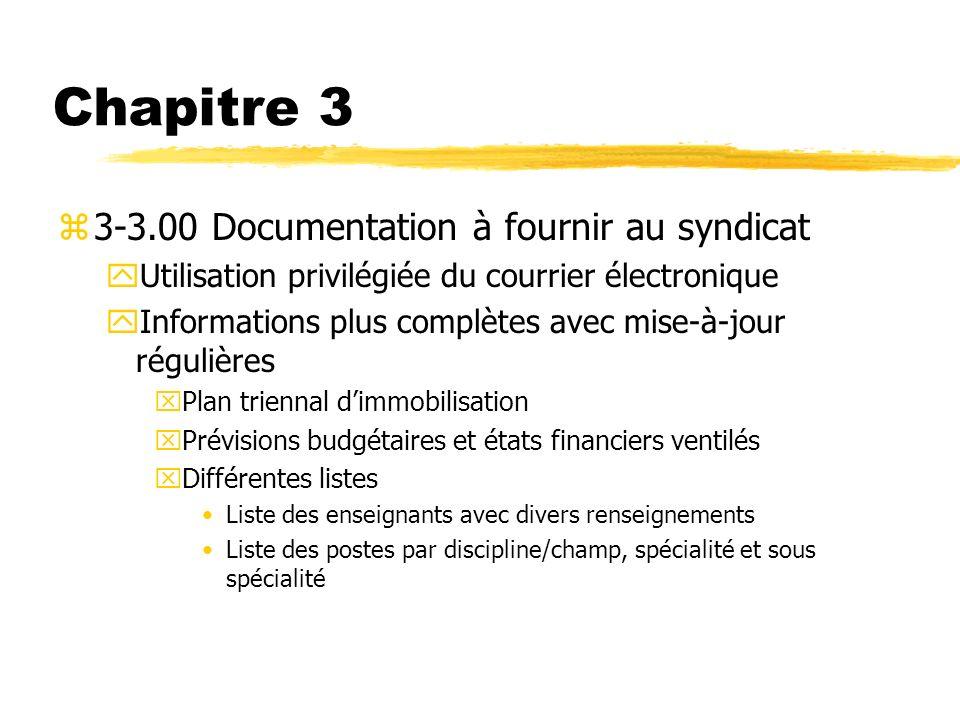 Chapitre 3 3-3.00 Documentation à fournir au syndicat