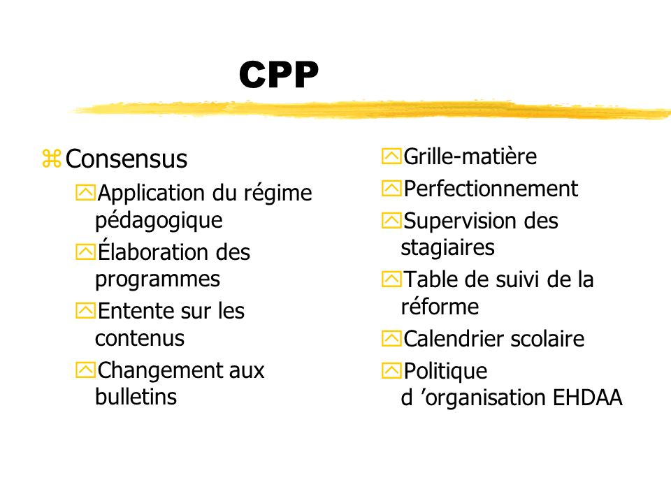 CPP Consensus Grille-matière Perfectionnement