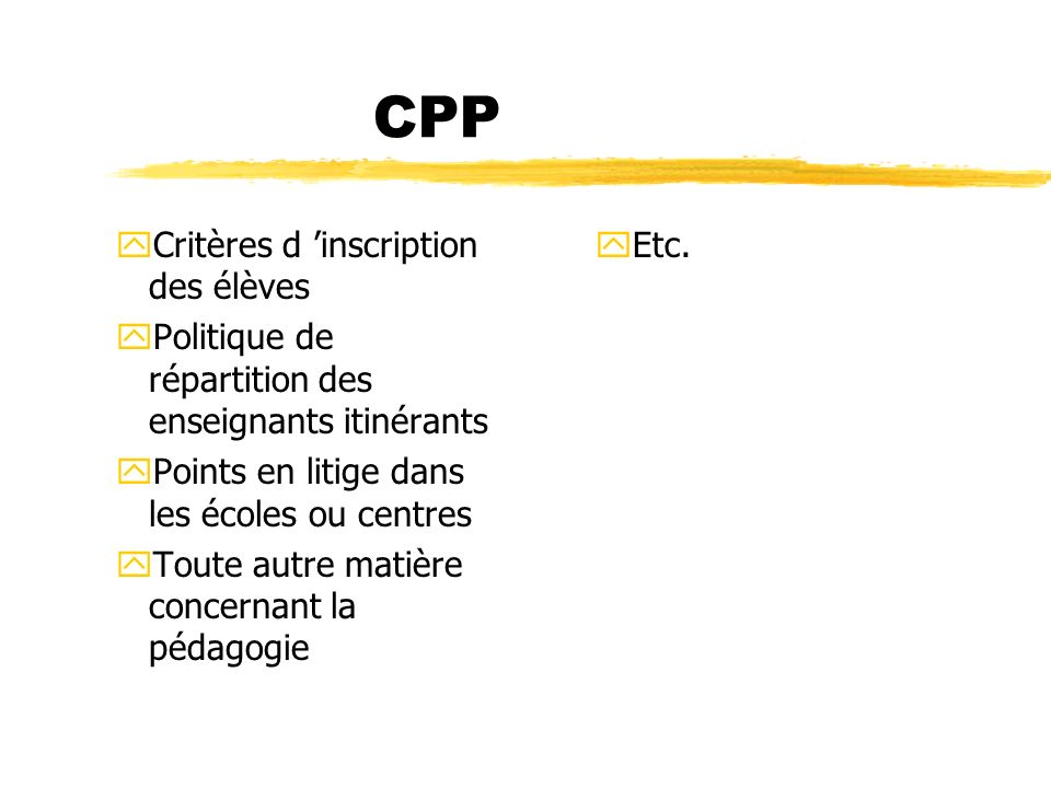 CPP Critères d 'inscription des élèves